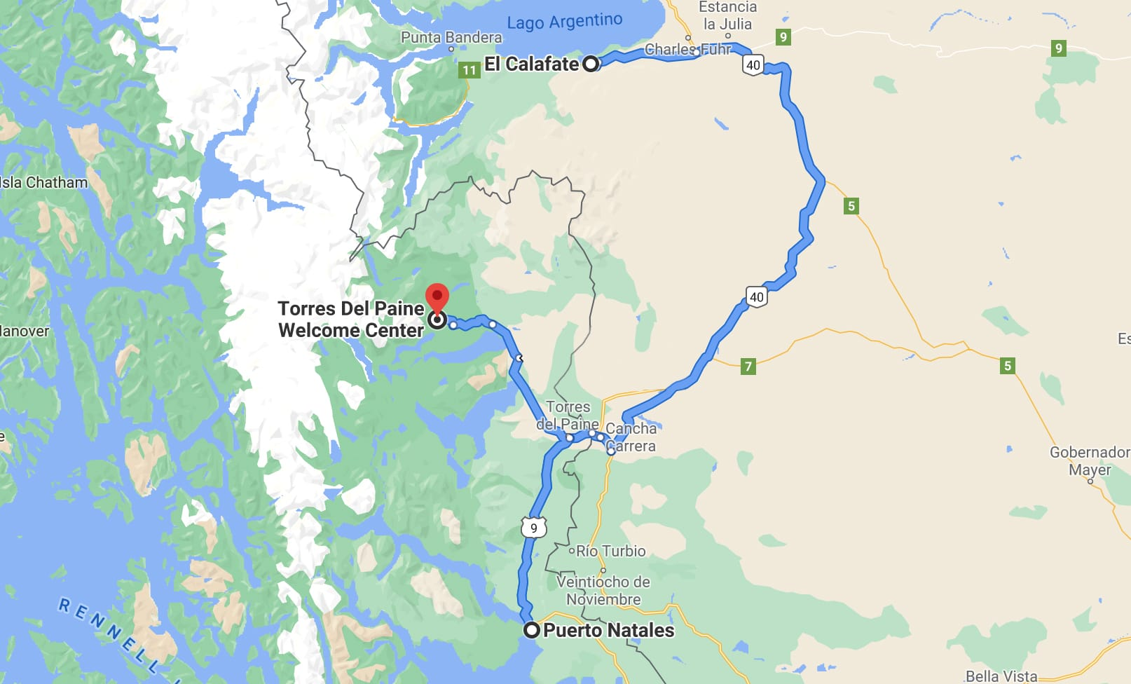 Getting from El Calafate to Torres del Paine route